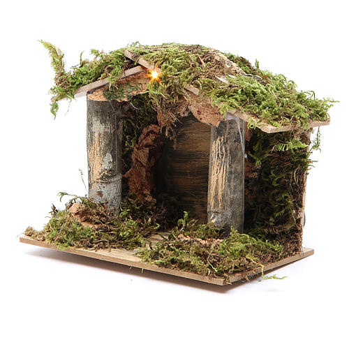 Nativity stable with LED light 13x15x10cm 2