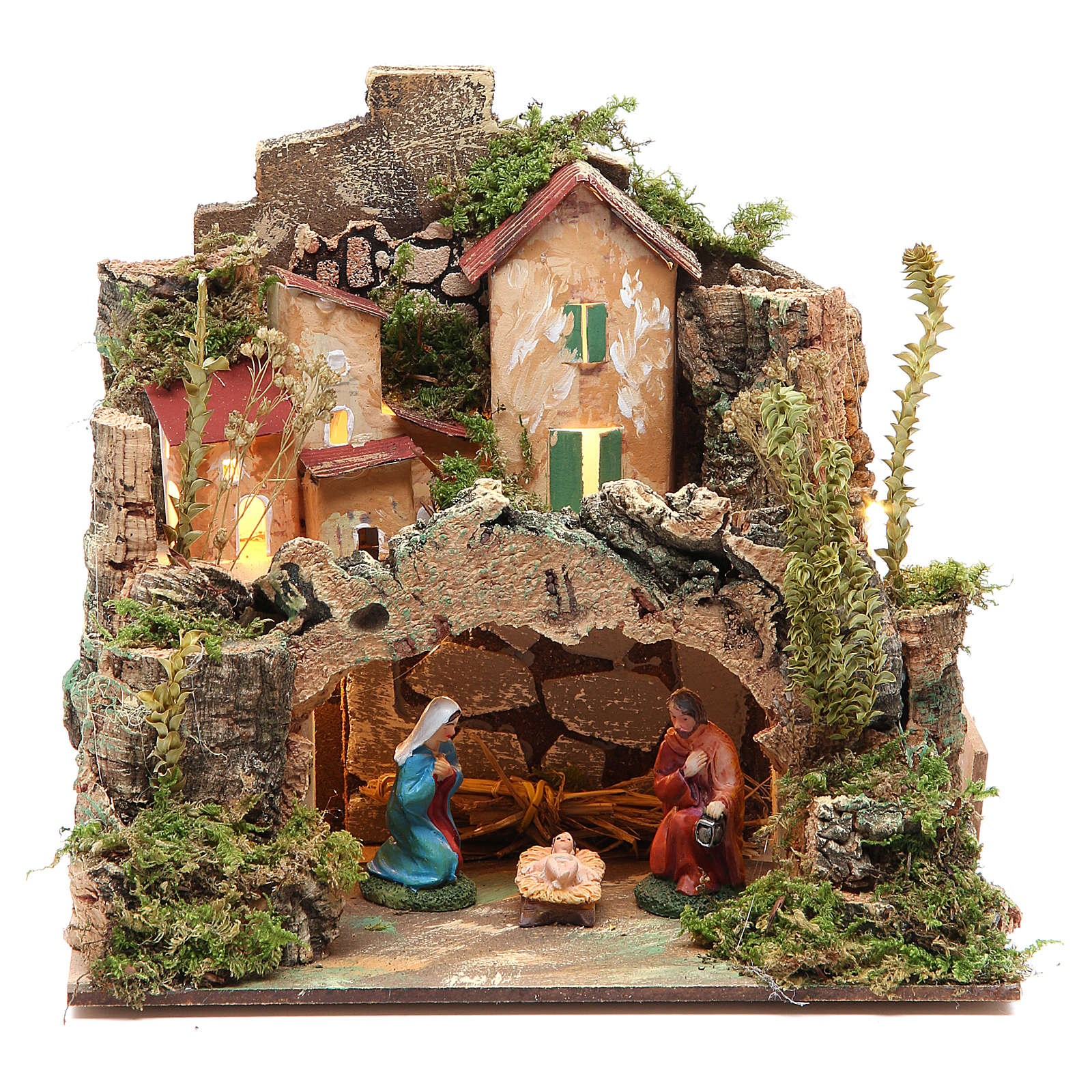 Nativity setting with figurines 6cm and 10 battery light 18x20x14cm 4