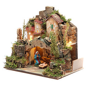 Nativity setting with figurines 6cm and 10 battery light 18x20x14cm s2