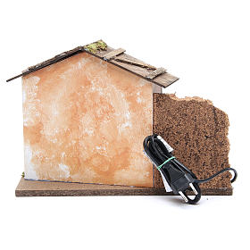 Nativity farmhouse with flame effect oven 23x33x18cm s4