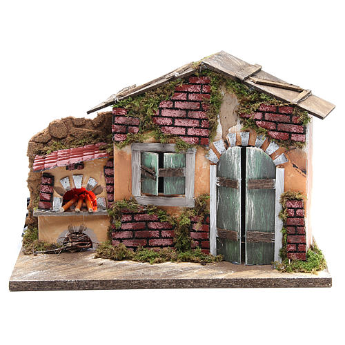 Nativity farmhouse with flame effect oven 23x33x18cm 1