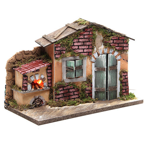 Nativity farmhouse with flame effect oven 23x33x18cm 3