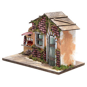 Nativity farmhouse with flame effect oven 23x33x18cm s2