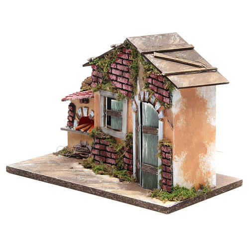 Nativity farmhouse with flame effect oven 23x33x18cm 2