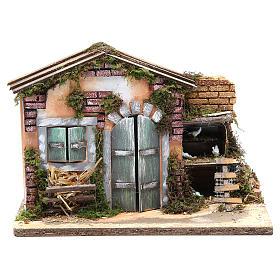 Ambientazioni, botteghe, case, pozzi: Casolare presepe cm 23x33x18 con galline