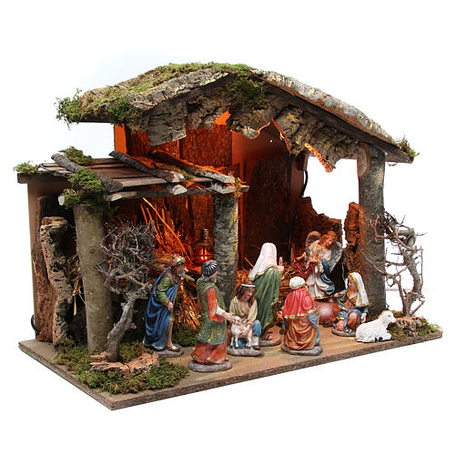 Nativity stable with figurines of 15cm, flame effect lights 42x60x34cm 3