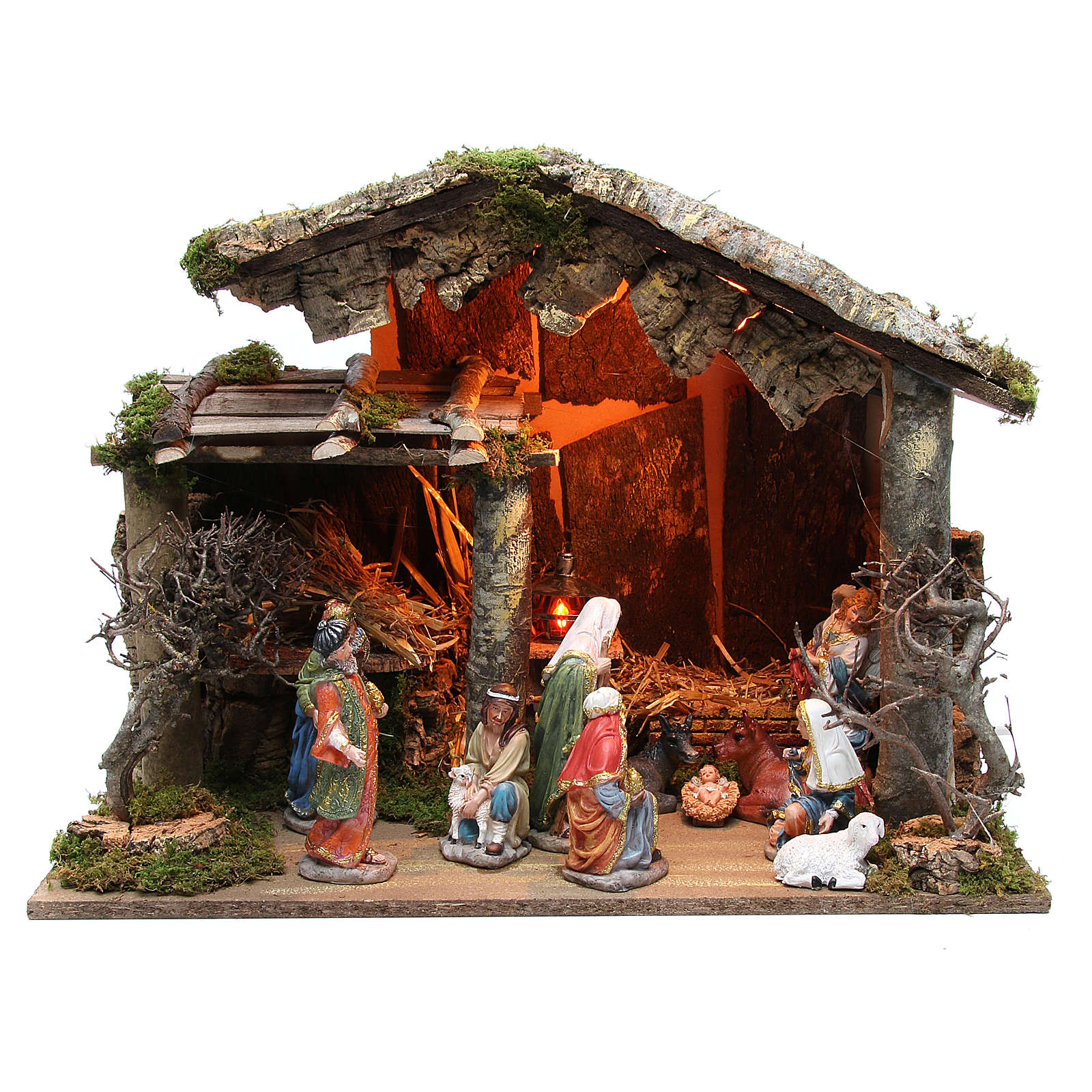 Nativity stable with figurines of 15cm, flame effect lights 42x60x34cm 4