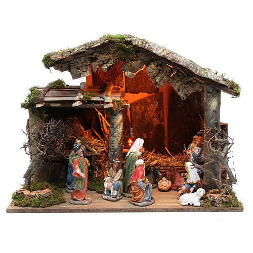Nativity stable with figurines of 15cm, flame effect lights 42x60x34cm 1