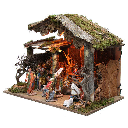 Nativity stable with figurines of 15cm, flame effect lights 42x60x34cm 2
