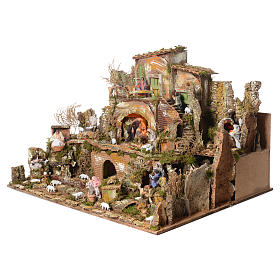 Complete nativity set and animated shepherds with figurines of 14cm, 73x95x73cm s3