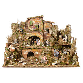 Complete nativity set and animated shepherds with figurines of 14cm, 73x95x73cm s2