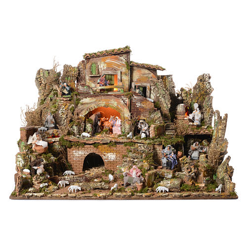 Complete nativity set and animated shepherds with figurines of 14cm, 73x95x73cm 1
