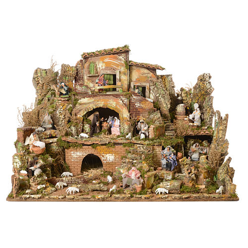 Complete nativity set and animated shepherds with figurines of 14cm, 73x95x73cm 2