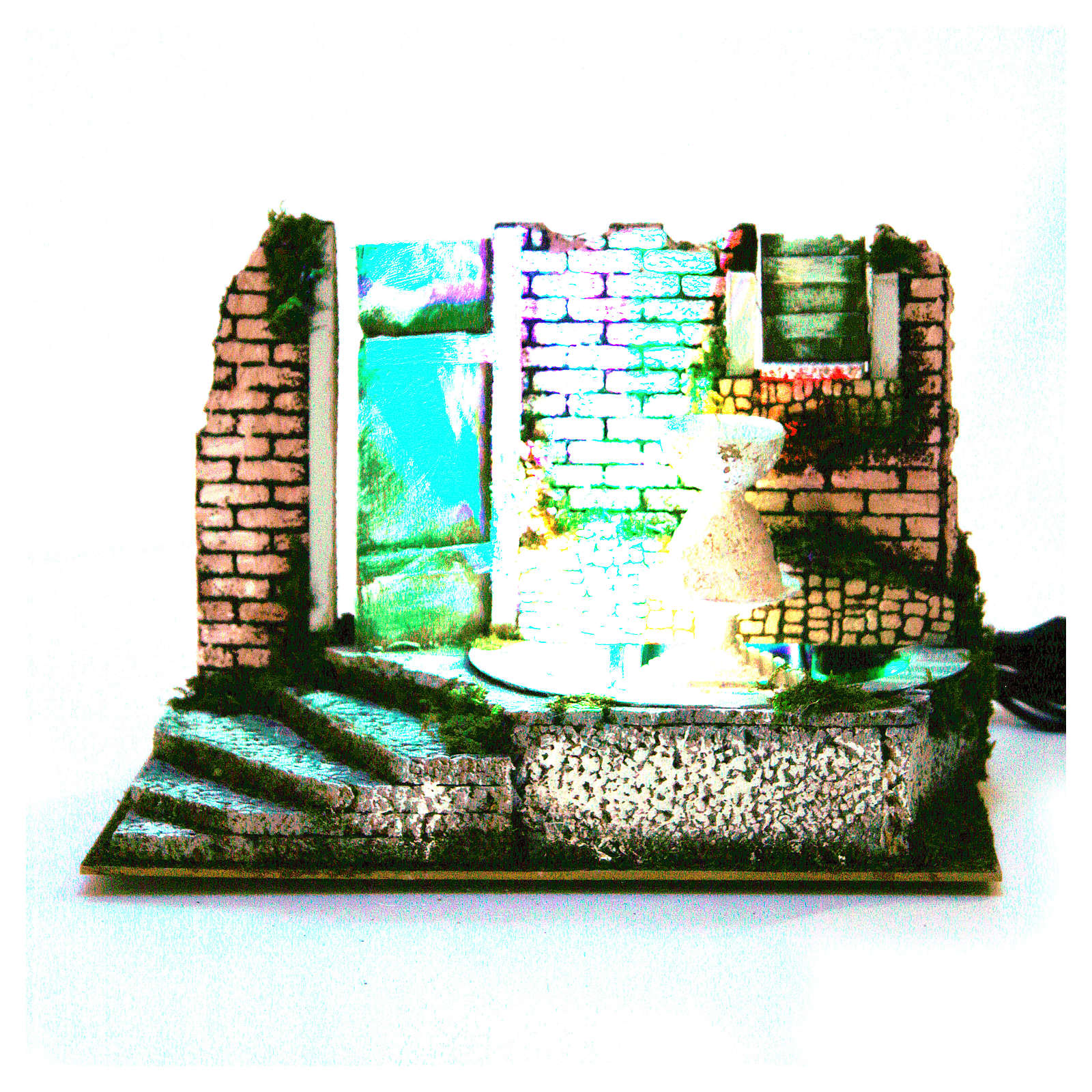 Fountain for nativities with 4 coloured LED lights 22.5x33x18cm 4