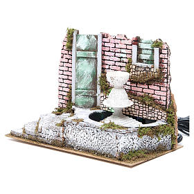 Fountain for nativities with 4 coloured LED lights 22.5x33x18cm s2