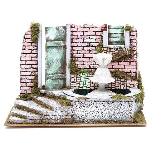 Fountain for nativities with 4 coloured LED lights 22.5x33x18cm 1
