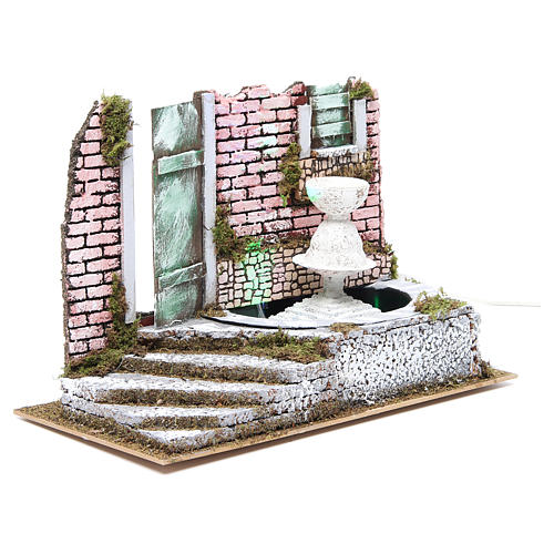 Fountain for nativities with 4 coloured LED lights 22.5x33x18cm 3