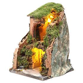 Grotta presepe cm 25x19x18 con 10 luci batteria s2