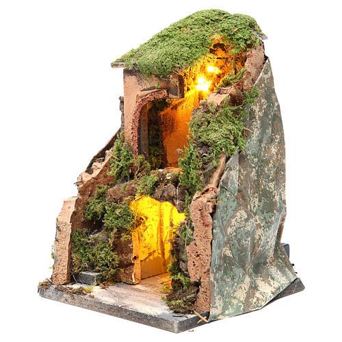 Grotta presepe cm 25x19x18 con 10 luci batteria 2