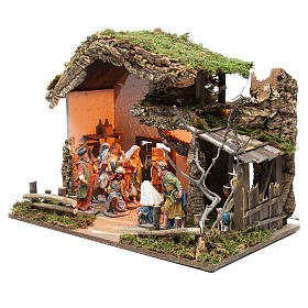 Nativity stable with figurines 15cm and lights 43x60x34cm s2
