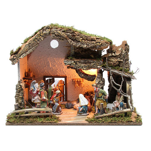 Nativity stable with figurines 15cm and lights 43x60x34cm 1