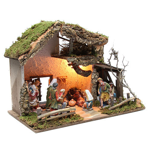 Nativity stable with figurines 15cm and lights 43x60x34cm 3