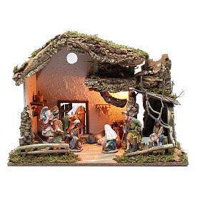 Cabane crèche 43x60x34 cm avec santons 15 cm et éclairage s1
