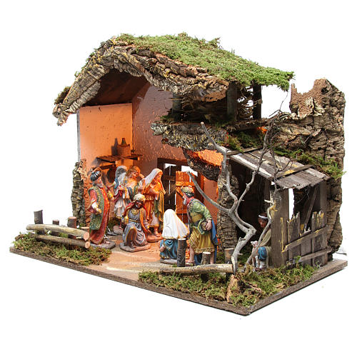 Nativity stable with figurines 15cm and lights 43x60x34cm 2