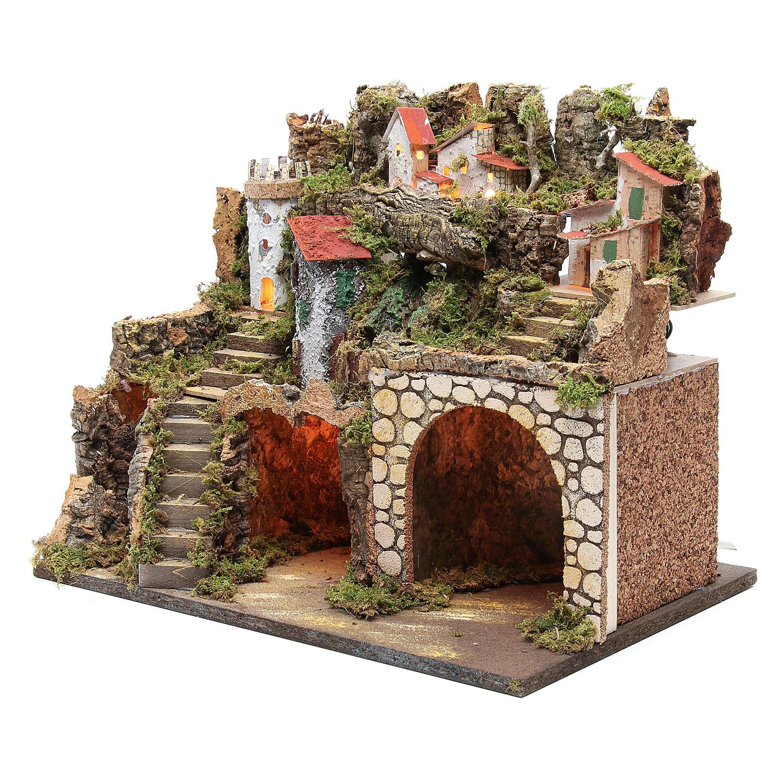 Capanna presepe con borgo 37x45x30 cm luci e cascata 4