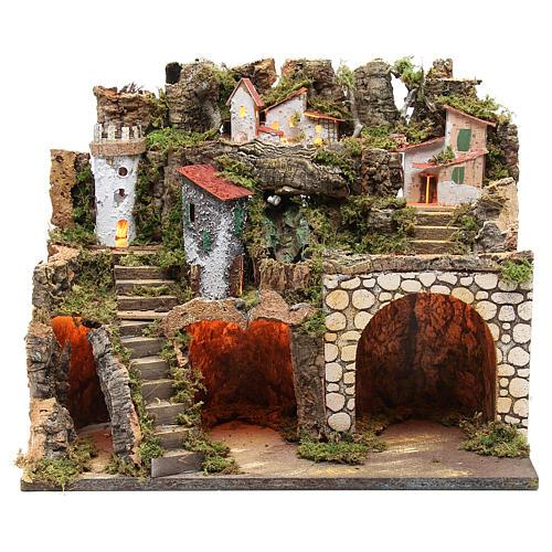 Capanna presepe con borgo 37x45x30 cm luci e cascata 1