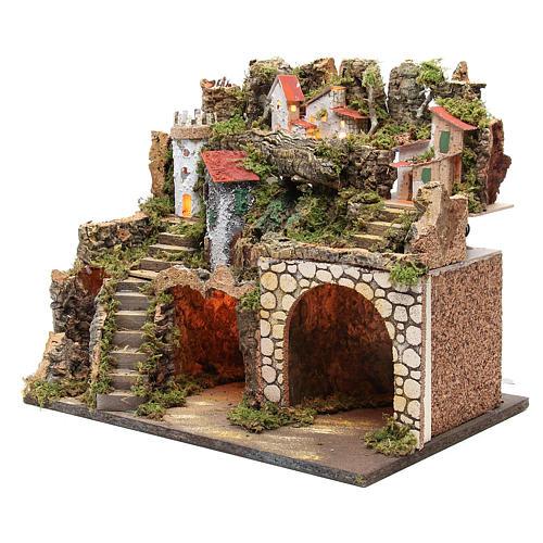 Capanna presepe con borgo 37x45x30 cm luci e cascata 2