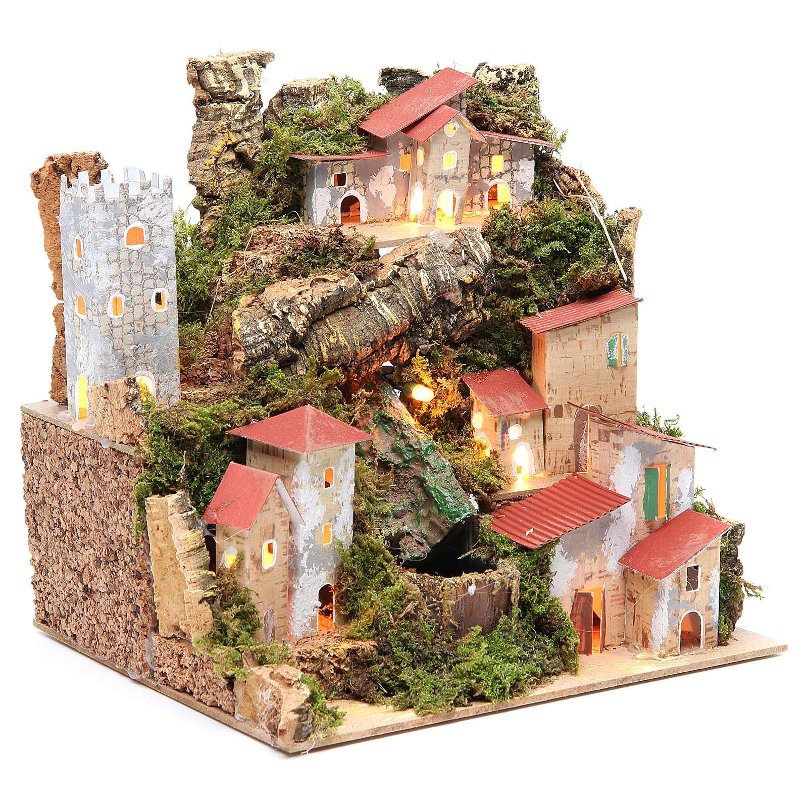 Borgo presepe con cascata cm 23x24x21 4