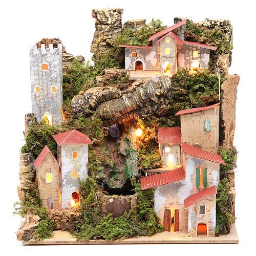 Borgo presepe con cascata cm 23x24x21 1