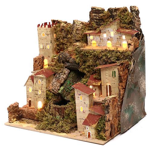 Borgo presepe con cascata cm 23x24x21 2