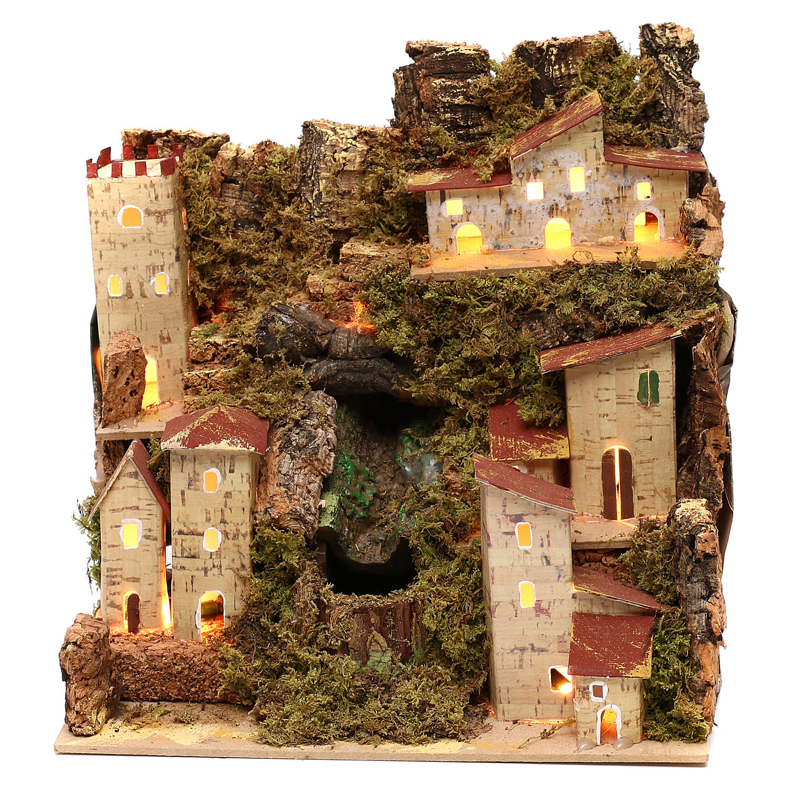 Farmhouse for nativities with waterfall measuring 23x24x21cm 4