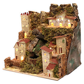 Farmhouse for nativities with waterfall measuring 23x24x21cm s2