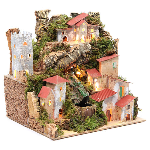 Farmhouse for nativities with waterfall measuring 23x24x21cm 3