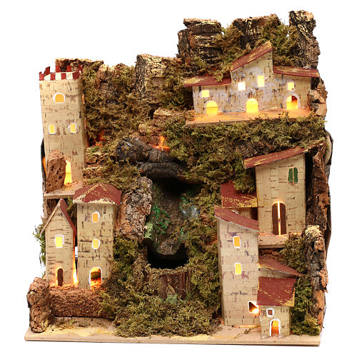 Farmhouse for nativities with waterfall measuring 23x24x21cm 1
