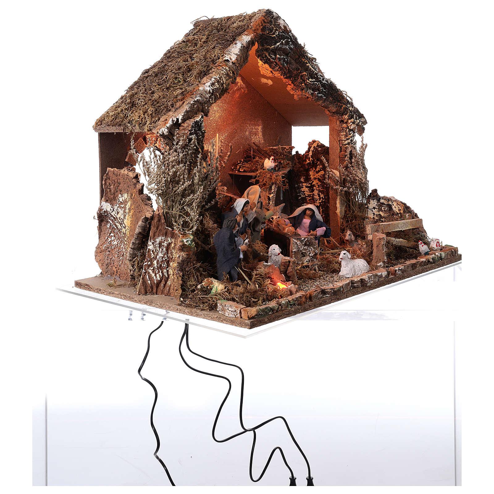 Hütte mit Krippe 46x57x38cm bewegliche Szene mit Licht 4