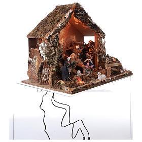 Hütte mit Krippe 46x57x38cm bewegliche Szene mit Licht s4