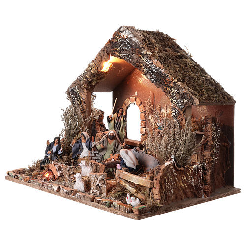 Hütte mit Krippe 46x57x38cm bewegliche Szene mit Licht 3