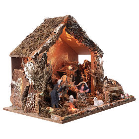 Nativity stable with moving figurines of 15cm, illuminated 46x57x38cm s5