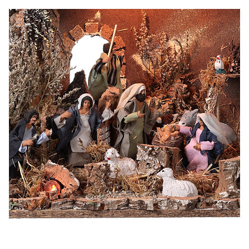Nativity stable with moving figurines of 15cm, illuminated 46x57x38cm 2