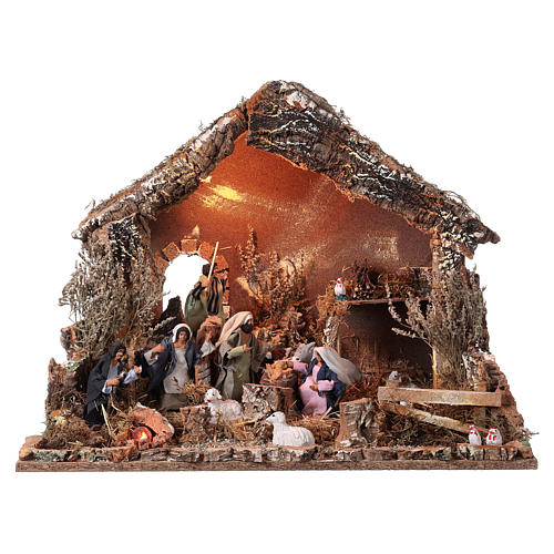 Chata do szopki 6x57x38cm święta Rodzina w ruchu 15cm oświetlenie 1