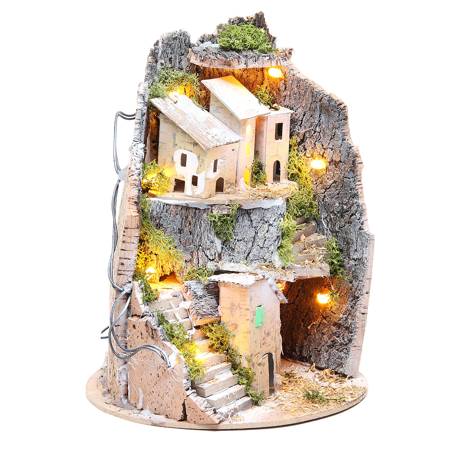 Borgo grotta presepe semitondo 10 luci 24x18 cm 4