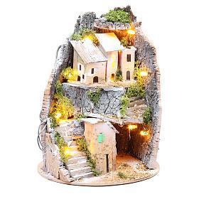 Borgo grotta presepe semitondo 10 luci 24x18 cm s5