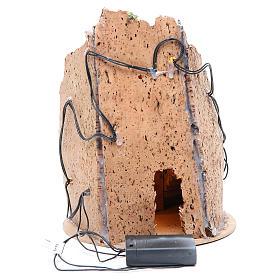 Borgo grotta presepe semitondo 10 luci 24x18 cm s8