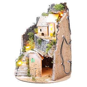 Borgo grotta presepe semitondo 10 luci 24x18 cm s2