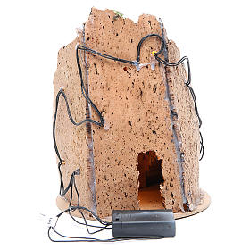 Borgo grotta presepe semitondo 10 luci 24x18 cm s4