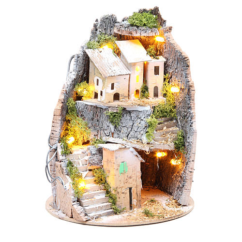 Borgo grotta presepe semitondo 10 luci 24x18 cm 5